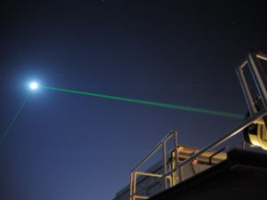 Laser pointing at the moon from Goddard spaceflight center