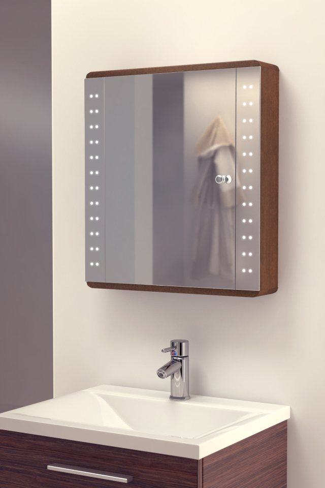 Battery Led Illuminated Bathroom Mirror Cabinet Ip44 nic