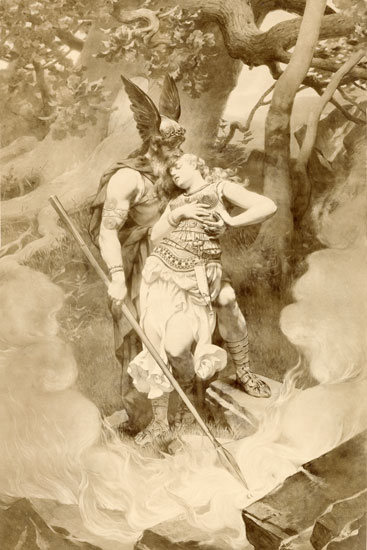 Wotan takes leave of Brunhild (1892) by Konrad Dielitz (Wikipedia Commons)