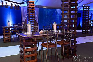 "Rustic Tables with Towers 30"" x 72"" x 42""h Table 18"" x 18"" x 9'6h Tower"