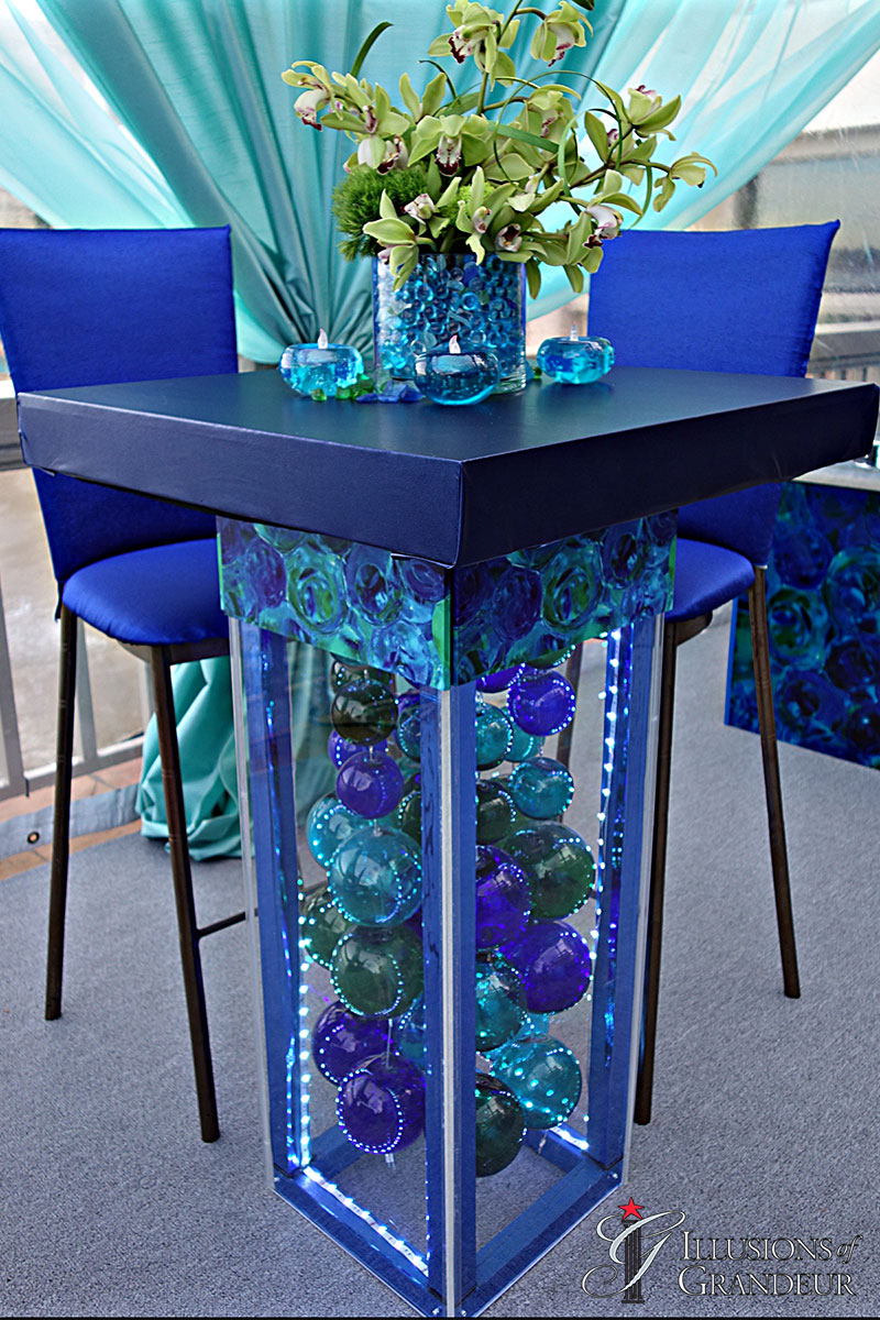 """LED Glass Ball Cocktail Tables 3"""""""" x 32"""" x 42""""h"""