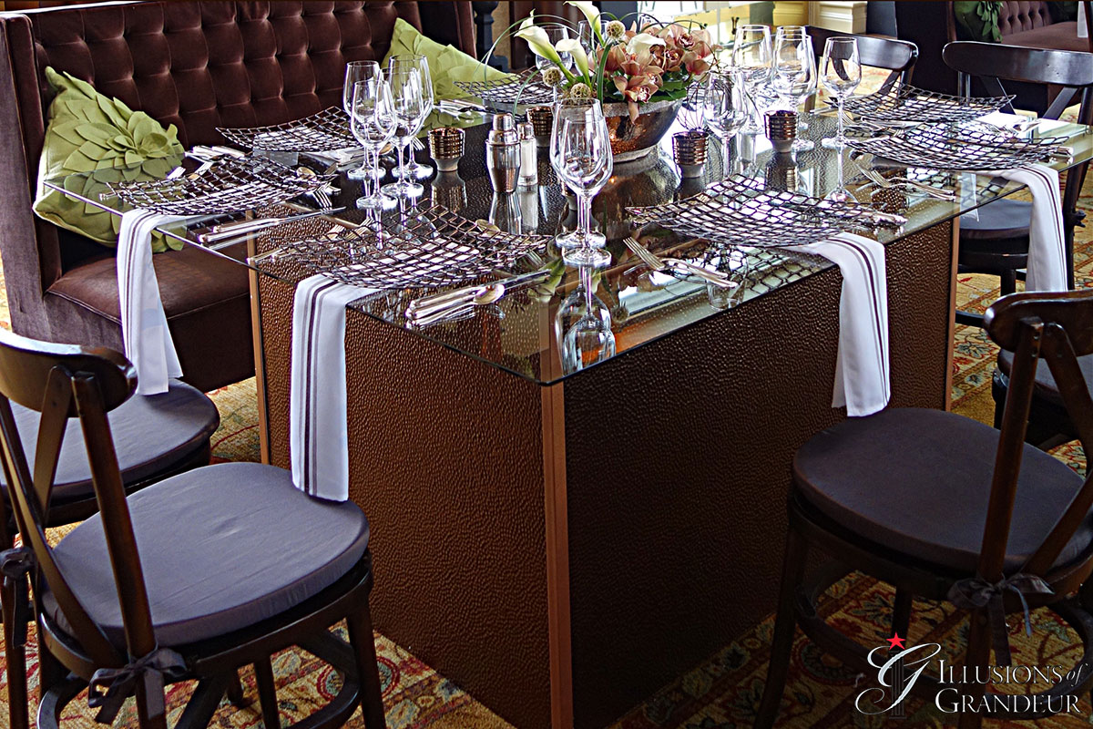 """Hammered Bronze Tables 58"""" x 68"""" Glass Tops x 30""""h"""