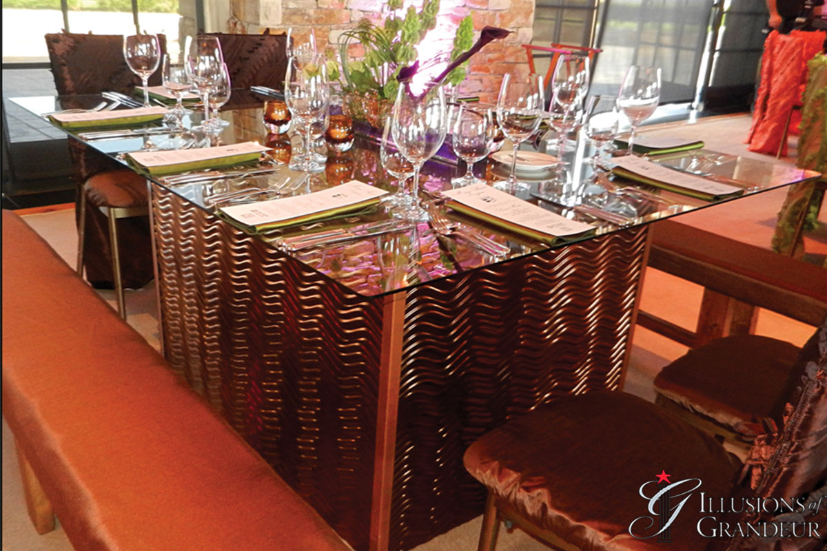 """Wave Tables 58"""" x 68"""" Glass Tops x 30""""h"""