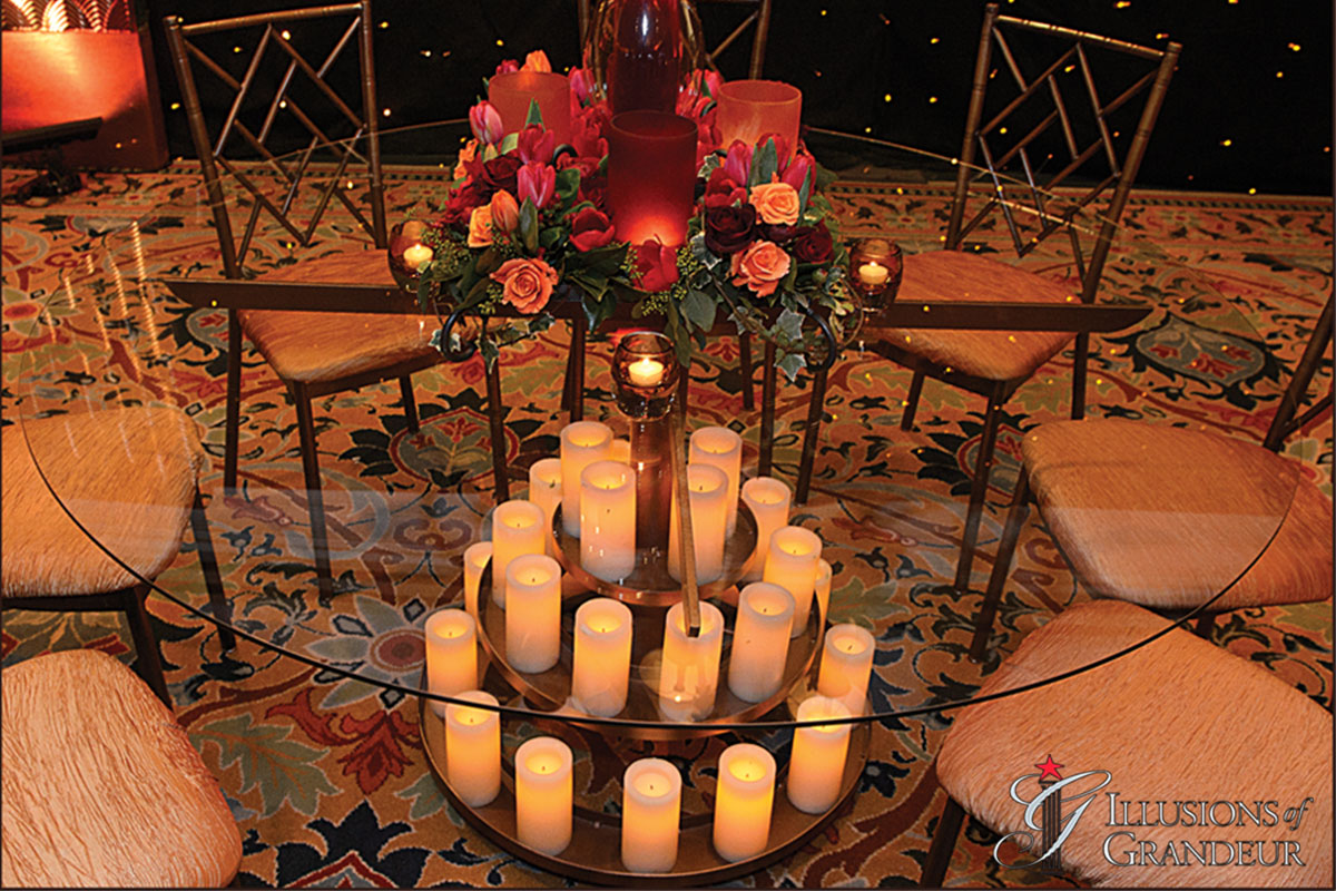 """Candle Tables 60"""" Glass Tops x 30""""h"""