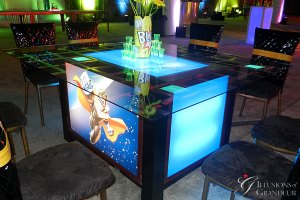 """Light-Box seated Tables / Super Hero Image 58"""" x 68"""" Glass Tops x 30""""h Different Images available"""