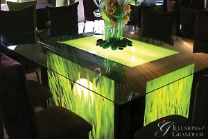 """Light-Box seated Tables / Golf Image 58"""" x 68"""" Glass Tops x 30""""h Different Images available"""