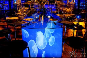 """Jellyfish Tables 60"""" round Glass Top x 30""""h"""