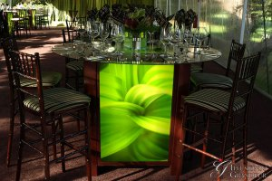 """Tall Light-Box Tables / green Leaf Image 60"""" round Glass Tops x 42"""" high Different Images available"""