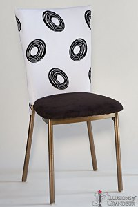 Bronze Diamond Back Chairs White with Black Circle Design Chair Back Covers Black Suede Cushion Covers