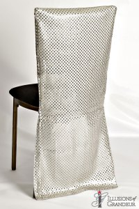 Bronze Diamond Back Chairs Long Silver Sequins Chair Back Covers Black Suede Cushion Covers