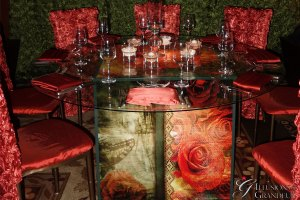 "Cube Tables / Vintage Rose Image 60"" round Glass Tops x 30""h Different Images available"