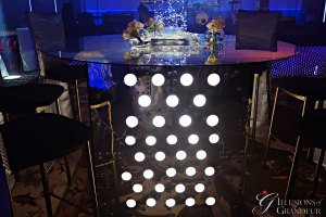 "Tall Light-Box Tables / Sci Fi 60"" round Glass Tops x 42"" high"