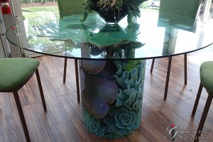 """Succulent Tables 48"""" round Glass x 30""""h"""