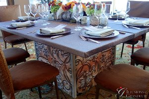 "Tooled Leather Tables 66""x66""x30""h"