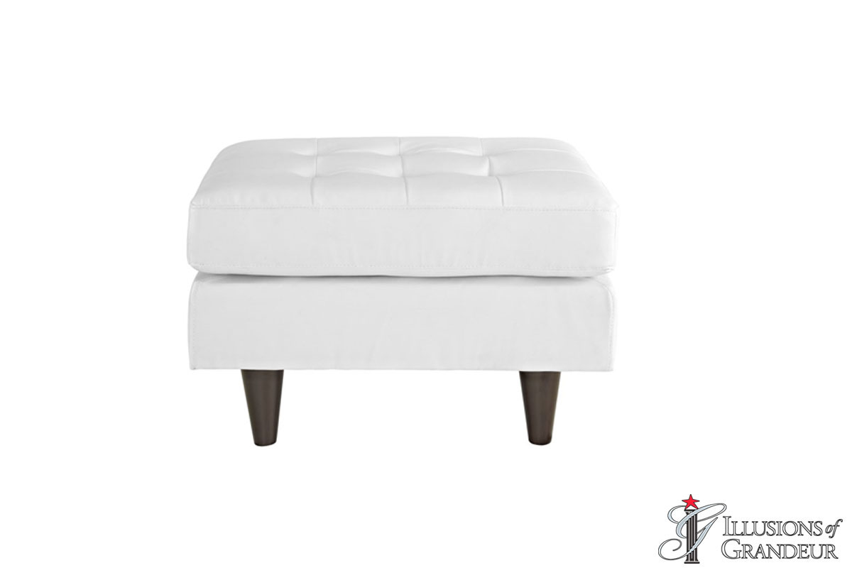 "White Leather Ottomans 18""H x 31.5""W x 25.5""D"