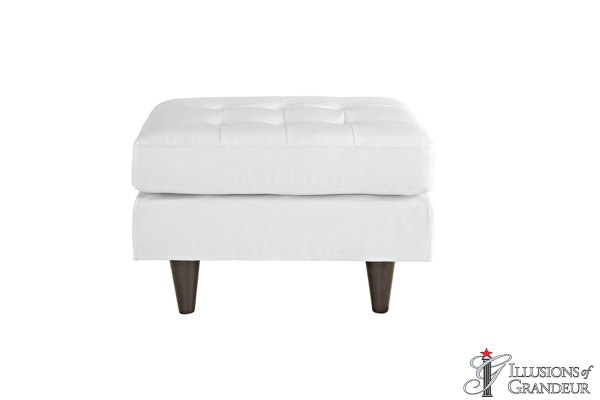 White Leather Ottomans