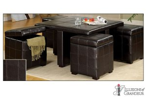 """Leather Coffee Table 34W x 34D x 20H Leather Cubes 15""""W x 15D"""" x 17.25""""H"""