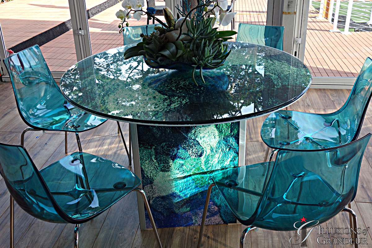 """Abstract blue green Tables 48"""" round Glass x 30""""h"""