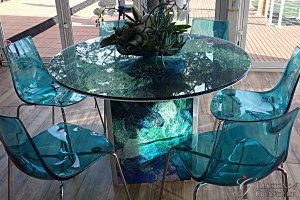 "Abstract blue green Tables 48"" round Glass x 30""h"