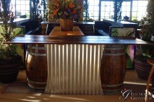 "Barrel Bar with Corrugated Metal 30""x96""x40""h"