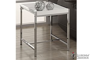 "White-Chrome-End-Tables 18""x18""x20""H"