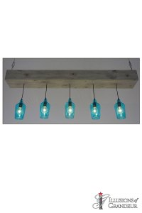 "Wood Boxes with teal Glass Pendants 9""x72""x30""H"