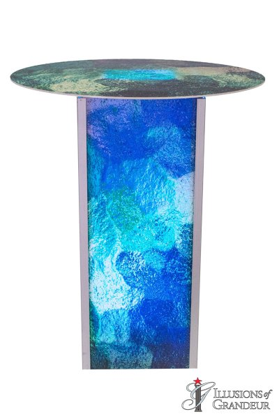 Illuminated Blue/Green Abstract Cocktail Tables