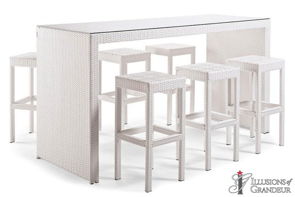 Palmero Communal Bar Table Sets with Backless Bar Stools