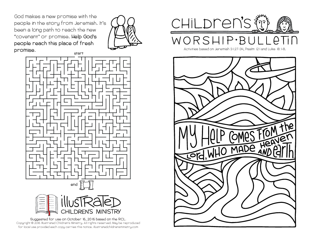 Childrens Worship Bulletin Illustrated Ministry