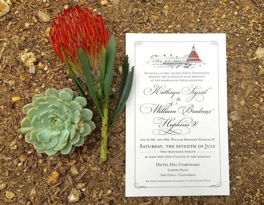 Hotel Del Coronado Wedding Invitation