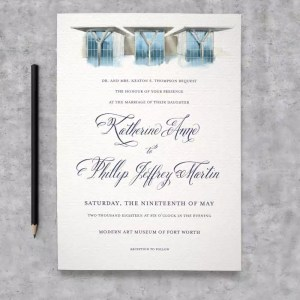 Custom Wedding Illustration Invitation featuring the Fort Worth Museum of Modern Art
