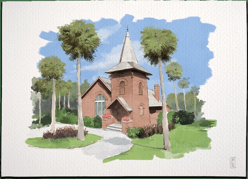 Illustrated Wedding - Jekyll Island's Historic Faith Chapel