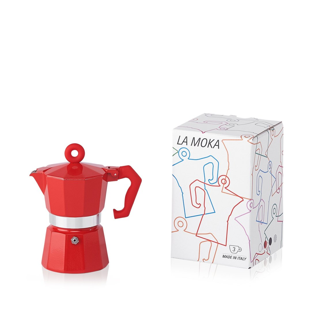 illy La Moka Red 3 Cup Moka Pot