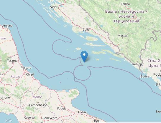 Scossa di magnitudo 5,6 nel mare Adriatico