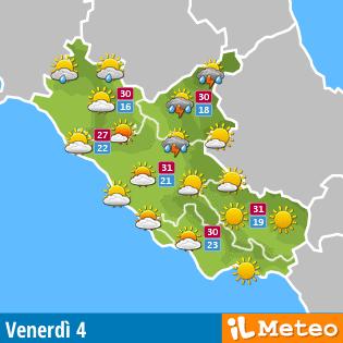 Meteo Lazio dopodomani