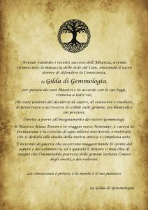 Comunicato della Gilda di Gemmologia