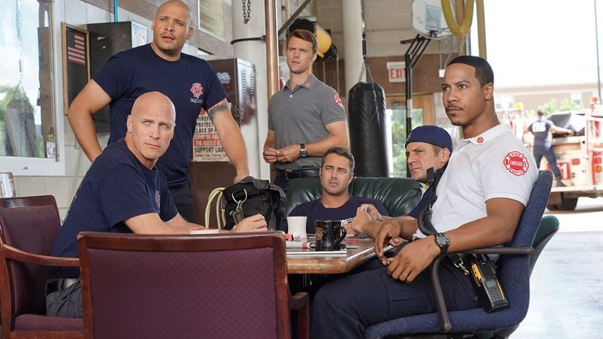 "CHICAGO FIRE -- ""I Walk Away"" Episode 403 -- Pictured: (l-r) Joe Minoso as Joe Cruz, Jesse Spencer as Matthew Casey, Taylor Kinney as Kelly Severide, Brian White as Cpt. Dallas Patterson -- (Photo by: Elizabeth Morris/NBC)"