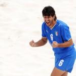 Giuseppe Soria con la maglia azzurra