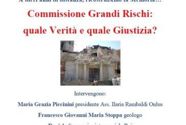 """Oggi l'incontro """"Commissione Grandi Rischi: quale verità e quale giustizia?"""""""