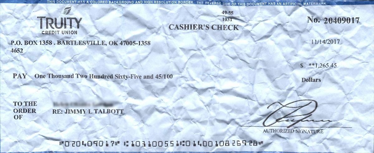 Fraudulent check