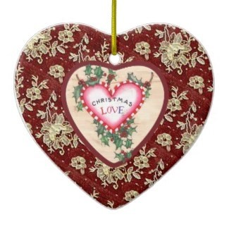 Lace Christmas Love Heart Ornament ornament