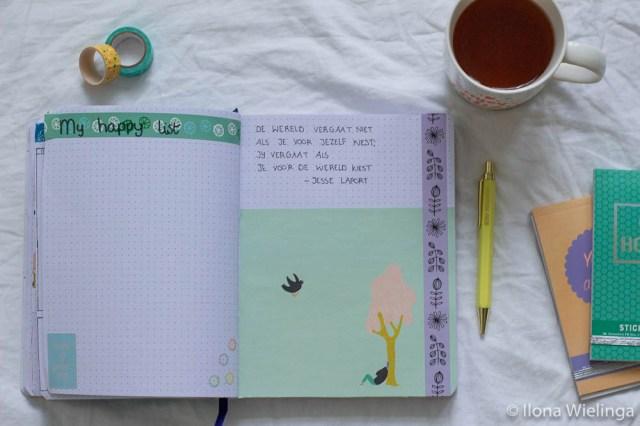bullet journal happy things en inspirerende quote