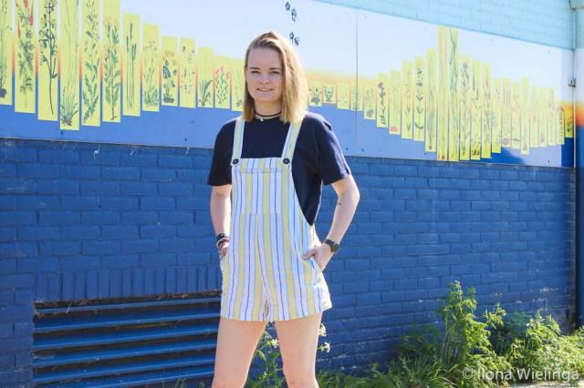 outfit 6 tuinbroek forever 21 geel met blauw