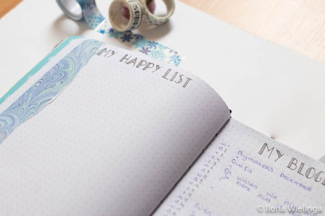bullet journal set-up januari 2020 happy list en blog list