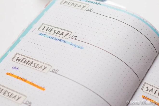 bullet journal set-up januari 2020 weekoverzicht