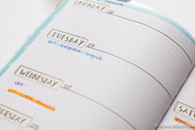 bullet journal set-up januari 2020 weekoverzicht