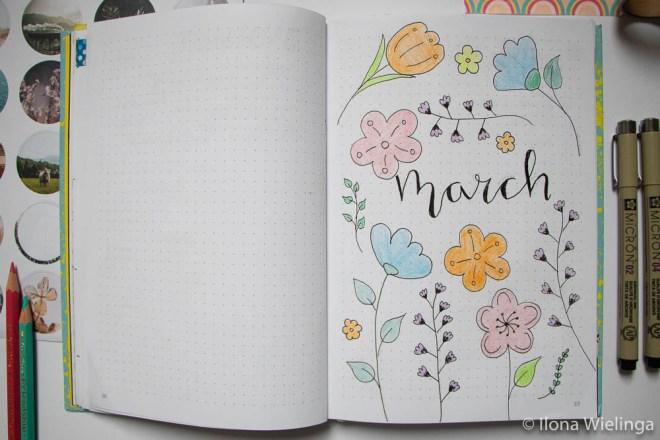 bullet journal maart march bloemen 1