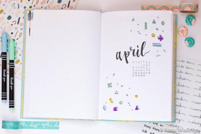 bullet journal april spread