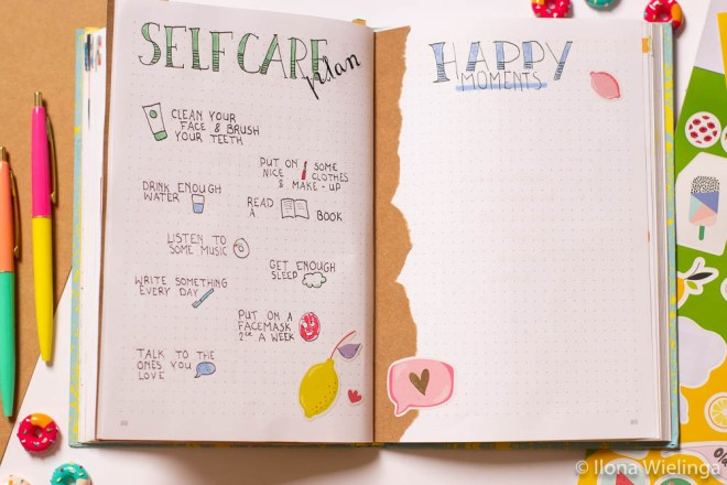 bullet journal mei  selfcare happy moments