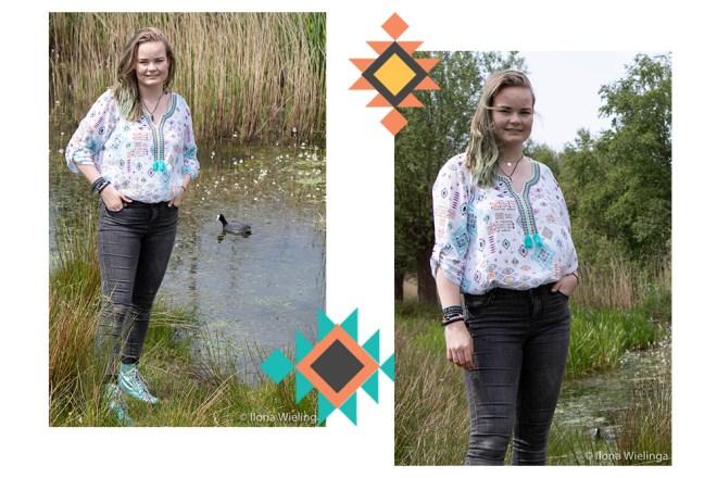 vintage blouse kringloop aztec look 1